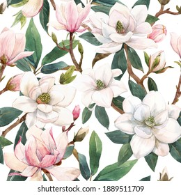 Beautiful seamless pattern with hand drawn watercolor gentle white and pink magnolia flowers. Stock illustration.