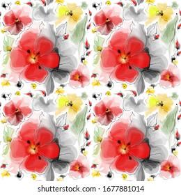 beau motif harmonieux de fleurs d'été à l'aquarelle