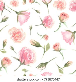 Beautiful seamless pattern with watercolor floral elements