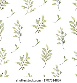 Beautiful seamless pattern with watercolor foliage. Hand painted illustration. Green branches and leaves. Best for background, wallpaper, wrapping paper, textile, bedding fabric, fashion design