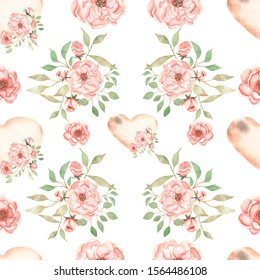 Beautiful, seamless, tileable pattern with watercolor flower wreath, flower bouquets, branch of leaves, peony flowers blossoms, and heart. Vintage background.