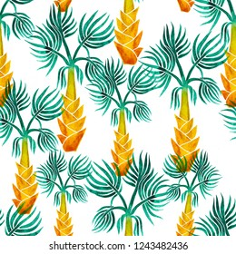 Beautiful seamless watercolor hand painted tropical pattern background with palm trees
