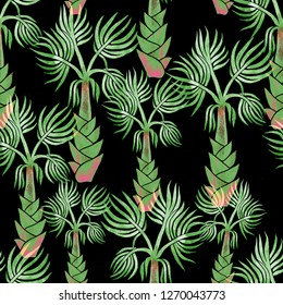 Beautiful seamless watercolor hand painted tropical pattern background with green palm trees on black background