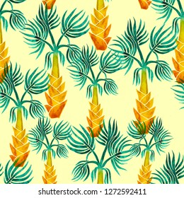 Beautiful seamless watercolor hand painted tropical pattern background with palm trees on yellow background