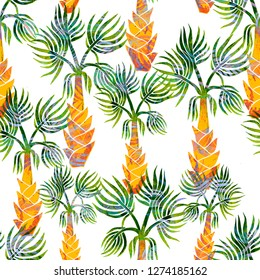 Beautiful seamless watercolor hand painted tropical pattern background with palm trees. Vintage style textile illustration
