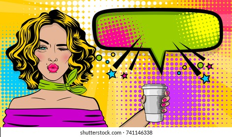Beautiful sexy girl blonde hair, wink wow face kissing mouth in style pop art hold coffee mug mock up. Comic book retro texture halftone background. illustration. Comic text Popart woman speech bubble
