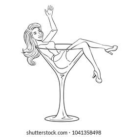 Beautiful sexy young woman sit on high martini cocktail glass for alcohol coloring raster illustration. Isolated image on white background. Comic book style imitation.