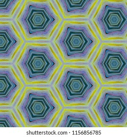 Beautiful shades of blue, lime green, yellow, lavender symmetrical hexagon pattern. Abstract design, illustration for wallpaper, fabric, print