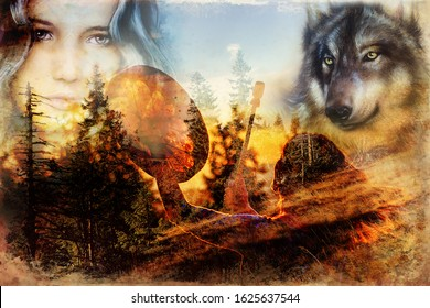 beautiful shamanic girl playing on shaman frame drum in the nature. Computer collage and painting effect.
