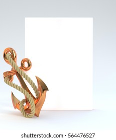 Beautiful shiny anchor with rope and clean blank canvas. The place for information. Metal sea anchor. 3D illustration