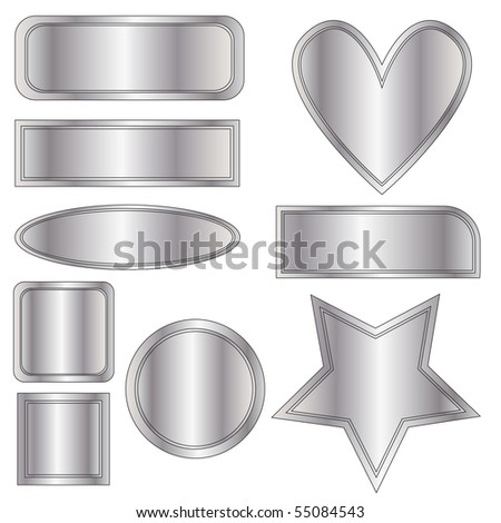 Beautiful Silver Metal Buttons Heart Star Stock Illustration
