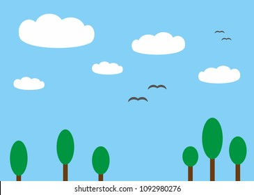 Beautiful simplified landscape illustrated without a preference photo. This landscape includes cartoon-like cute white clouds, little birds flying on the blue sky and some simple green trees.