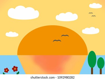 Beautiful simplified landscape illustrated without a preference photo. In this landscape you can see a sunset with a colorful sky and ocean, some cute little trees and cartoon-like clouds.