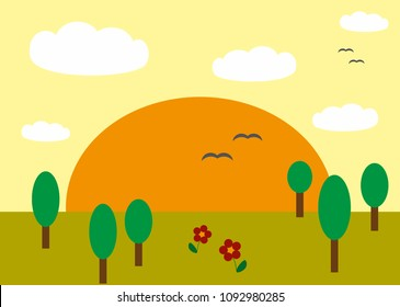 Beautiful simplified landscape illustrated without a preference photo. In this landscape you can see a sunset with a colorful sky, some cute little trees and cartoon-like clouds.