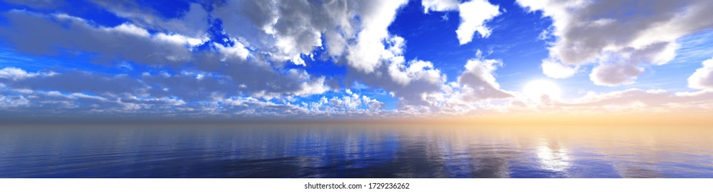 beautiful sky panorama over the sea, seascape with beautiful clouds, 3D rendering