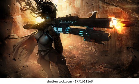 A beautiful, slender, long-haired sniper girl takes aim with her fancy saifi rifle, peering into the distance with her cybernetic eye, in the middle of the ruins of a large city. 2d illustration