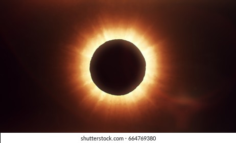 Beautiful solar eclipse in space, photorealistic illustration