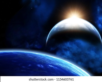 A beautiful space scene with sun, planets and nebula. Elements of this image furnished by NASA. 3d render