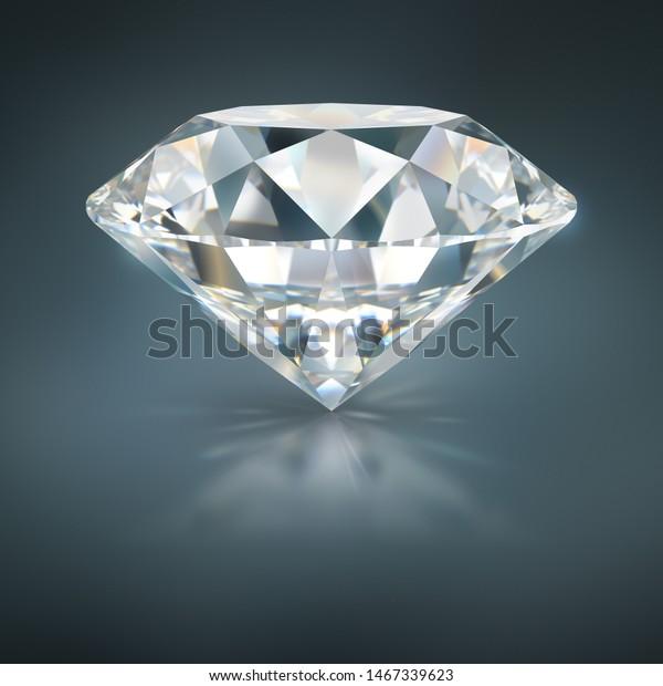 A beautiful sparkling diamond on a dark reflective surface. 3d image. Dark blue background.