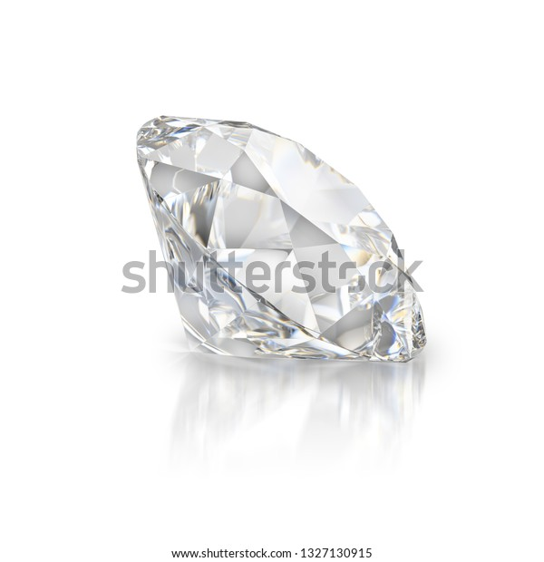 A beautiful sparkling diamond on a light reflective surface. 3d image. White background.
