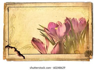 Beautiful spring flowers - artwork in retro style