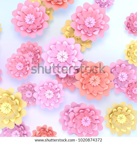 Beautiful Spring Flowers Paper Crafts 3 D Stock Illustration