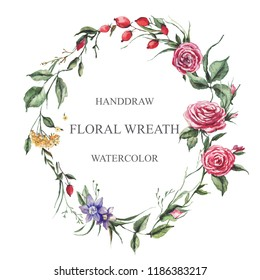 A beautiful spring watercolor oval shaped wreath. Such a composition of roses, flowers, berries, leaves is perfect for wedding invitations