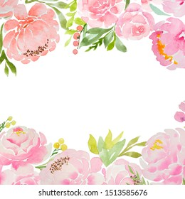 A beautiful square blank for a card with careless watercolor pink peonies and roses and a white background. For a wedding, a birthday. Delicate pastel colors for design.