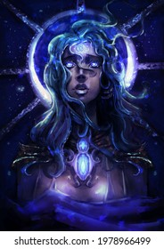 A beautiful star girl with blue eyes that glow like sapphires looks up into the sky, a necklace with precious stones on her chest, and a stained-glass moon behind her. 2d illustration.