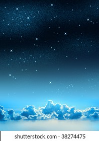 Beautiful starry sky background with some clouds