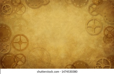 Beautiful steampunk background illustration with clockwork elements