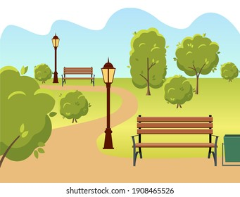 beautiful summer city park with green trees bench, lantern and walkway.  illustration.