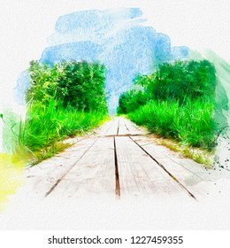 Beautiful summer scenic background with copy space. Wooden floor covered with summer sun, forest and landscape with bushes on the edges, watercolor illustration