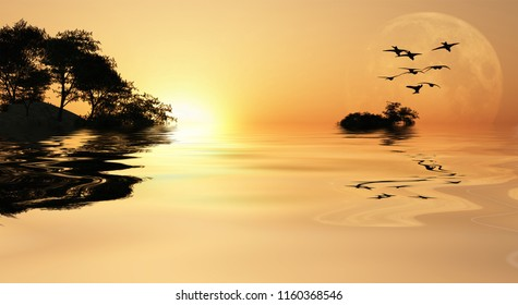 Beautiful Sunrise over ocean. Island with trees. Giant moon at the horizon. 3D rendering