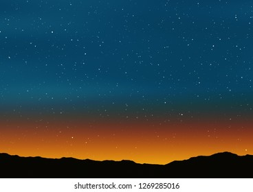 Beautiful sunset with blue sky, stars and mountain silhouette illustration