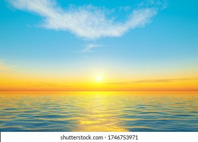 beautiful sunset at the calm ocean dream 3D illustration