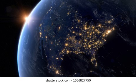 Beautiful Sunset over North America. City Lights at Night. Planet Earth from Space. View from Space Satellite. 3D Rendering. Images from NASA.