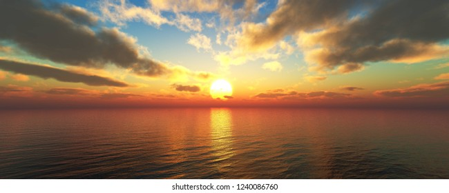 Beautiful sunset over the sea, the sun over the sea, clouds over the water, 3d rendering