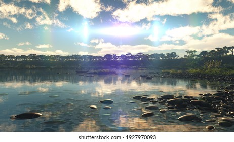 Beautiful sunset over the tropical lagoon, illustration 3d rendering