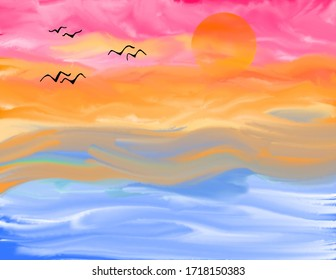 beautiful sunset water colour abstract background