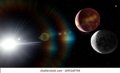beautiful surface of an alien planet on the background of stars and galaxies in bright colors, space fantasy, space background, exoplanet 3d render
