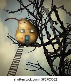 A beautiful surreal imagine representing a pear like a house that rests on the branches