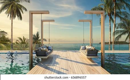 Beautiful Swing sofa on the Swimming pool waters outdoor tropical beach coastline with blue ocean sea horizon- 3D rendering