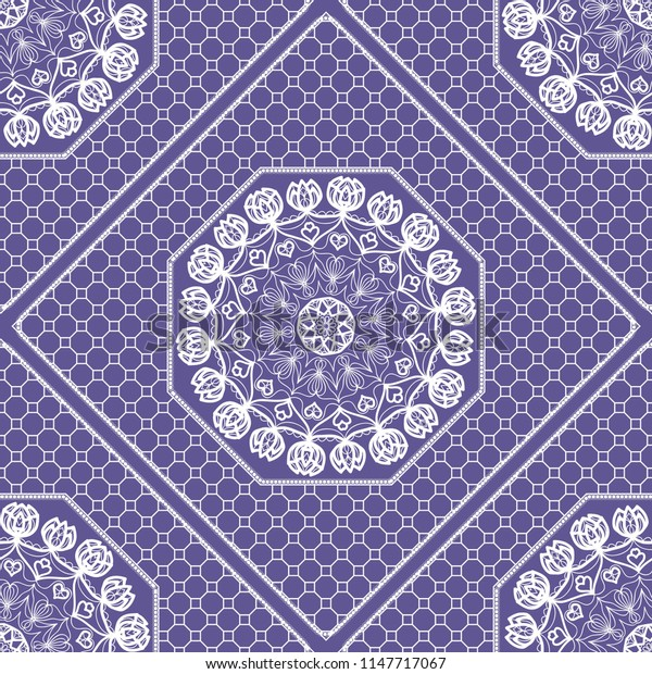 Beautiful tablecloth. Seamless lace pattern with geometric . floral element.   illustration. Purple color