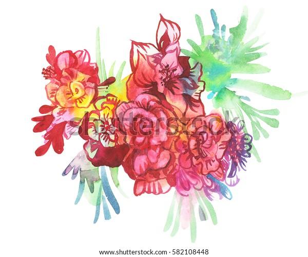 Beautiful and tender, romantic watercolor illustration