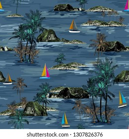 Beautiful Thailand islands and sailing ship pattern. Summer trends bright colorful island pattern on blue background. Landscape with palm trees, beach, sailing ship and ocean brush hand drawn style.