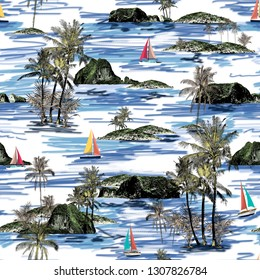 Beautiful Thailand islands and sailing ship pattern. Summer trends bright colorful island pattern on white background. Landscape with palm trees, beach, sailing ship and ocean brush hand drawn style.