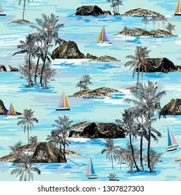 Beautiful Thailand islands and sailing ship pattern. Summer trends bright colorful island pattern on light green background. Landscape with palm trees, beach, sailing ship and ocean brush hand drawn s