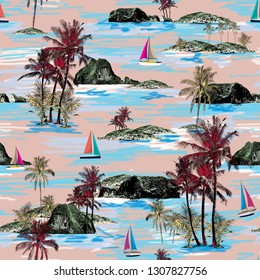 Beautiful Thailand islands and sailing ship pattern. Summer trends bright colorful island pattern on light pink  background. Landscape with palm trees, beach, sailing ship and ocean brush hand drawn s