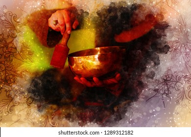 beautiful tibetian bowl and softly blurred watercolor background.